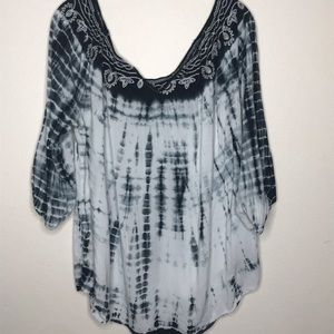 Tops - Hippy Tie-Dye Embroidered Top